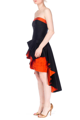 1980S SCAASI  Black & Orange Haute Couture Silk Taffeta Strapless Mini Cocktail Dress With Peplum Over Skirt