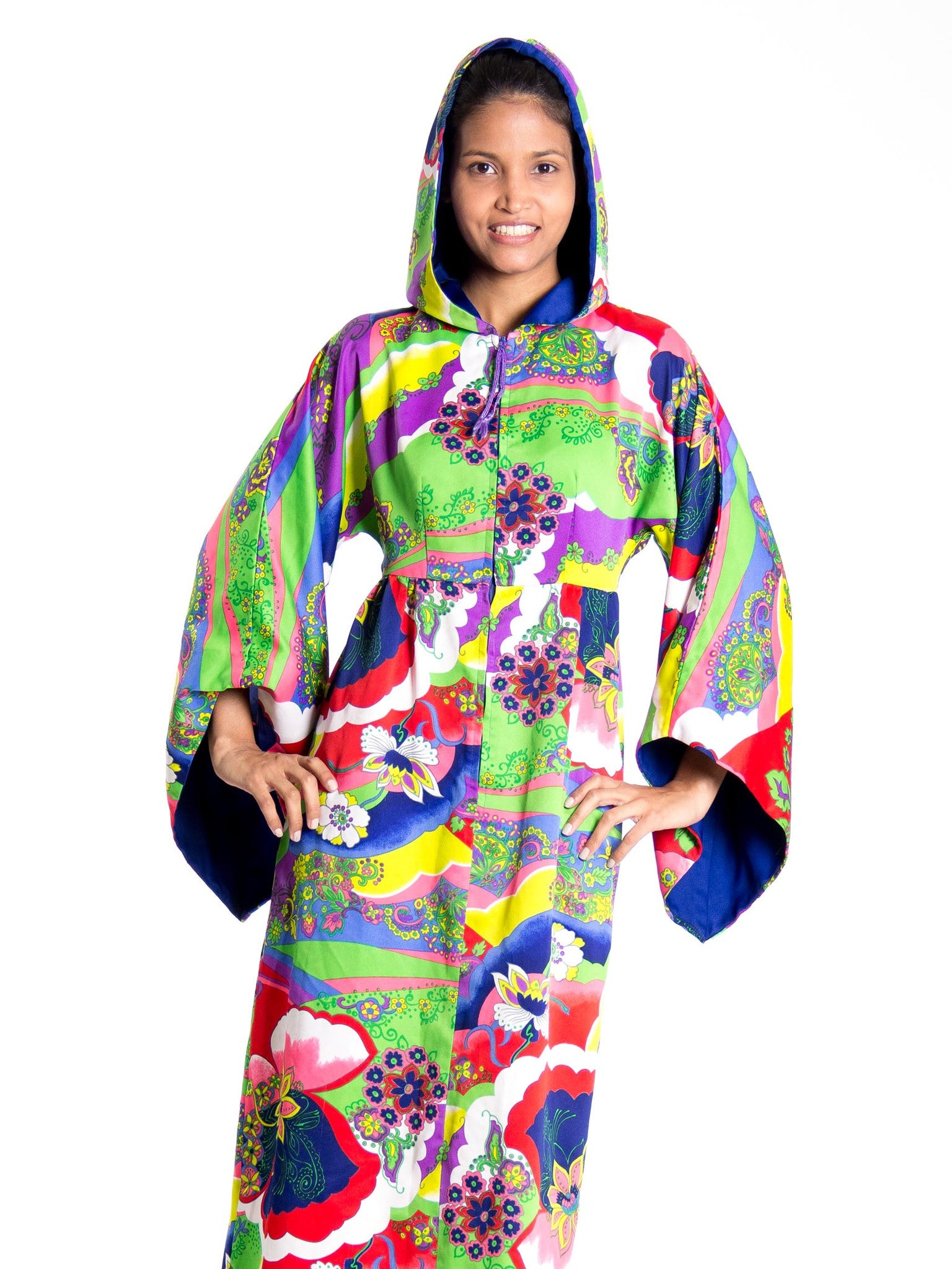 1970S Multicolor Psychedelic Polyester Empire Waist Bell Sleeve Hooded Dress With Pocket