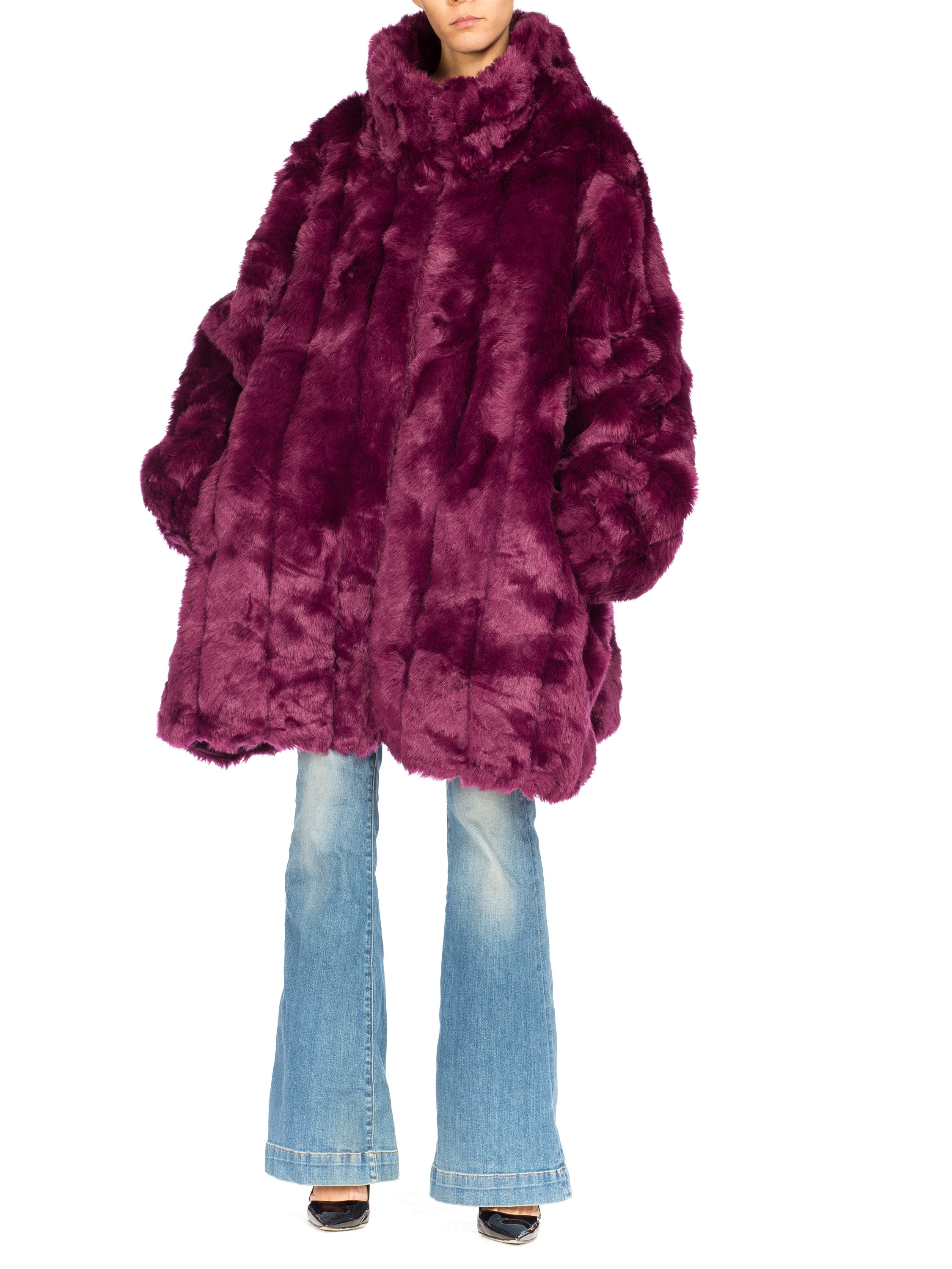 Eggplant Purple Oversized Full Length Faux Fur Coat