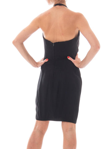 "MOSCHINO Black Rayon Blend Crepe Back Satin ""Cruise Me Baby"" Collection Halter Cocktail Dress"