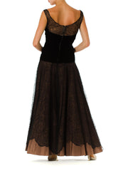 1930s Lace and Velvet Evening Gown