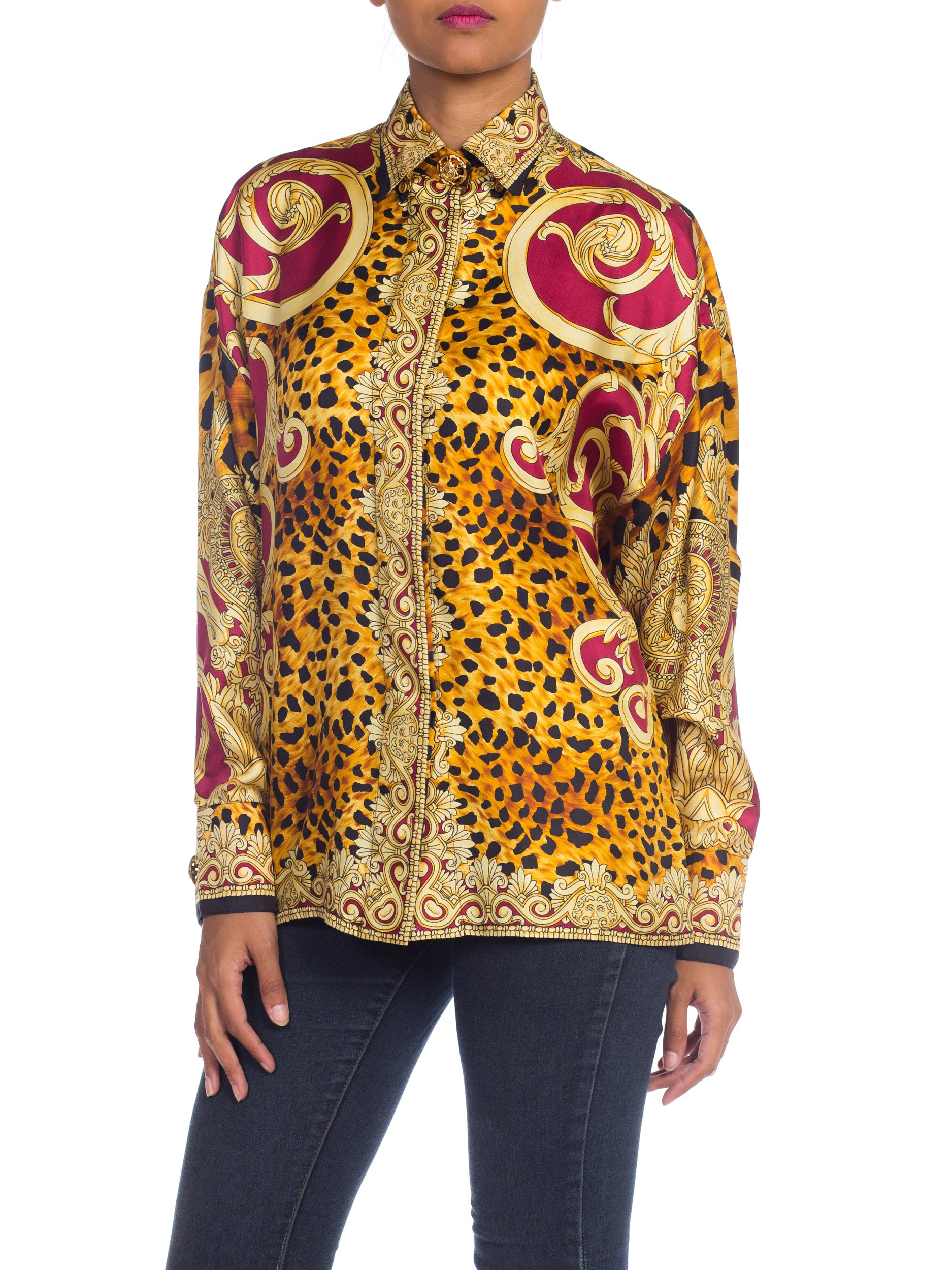 1990S GIANNI VERSACE Gold Baroque & Leopard Silk Shirt With Crystals Buttons