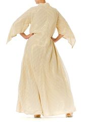 1970s Gold Lamé Cotton Maxi Caftan Dress