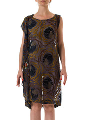 1920s Burnout Silk Velvet Sleeveless Shift Dress with Beaded Embellishment