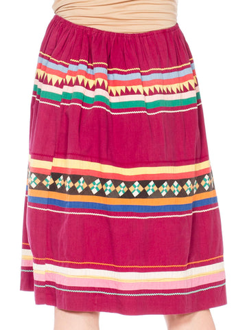 1950S Cranberry Red Patchwork Cotton Seminole Native American Skirt With Elastic Waist