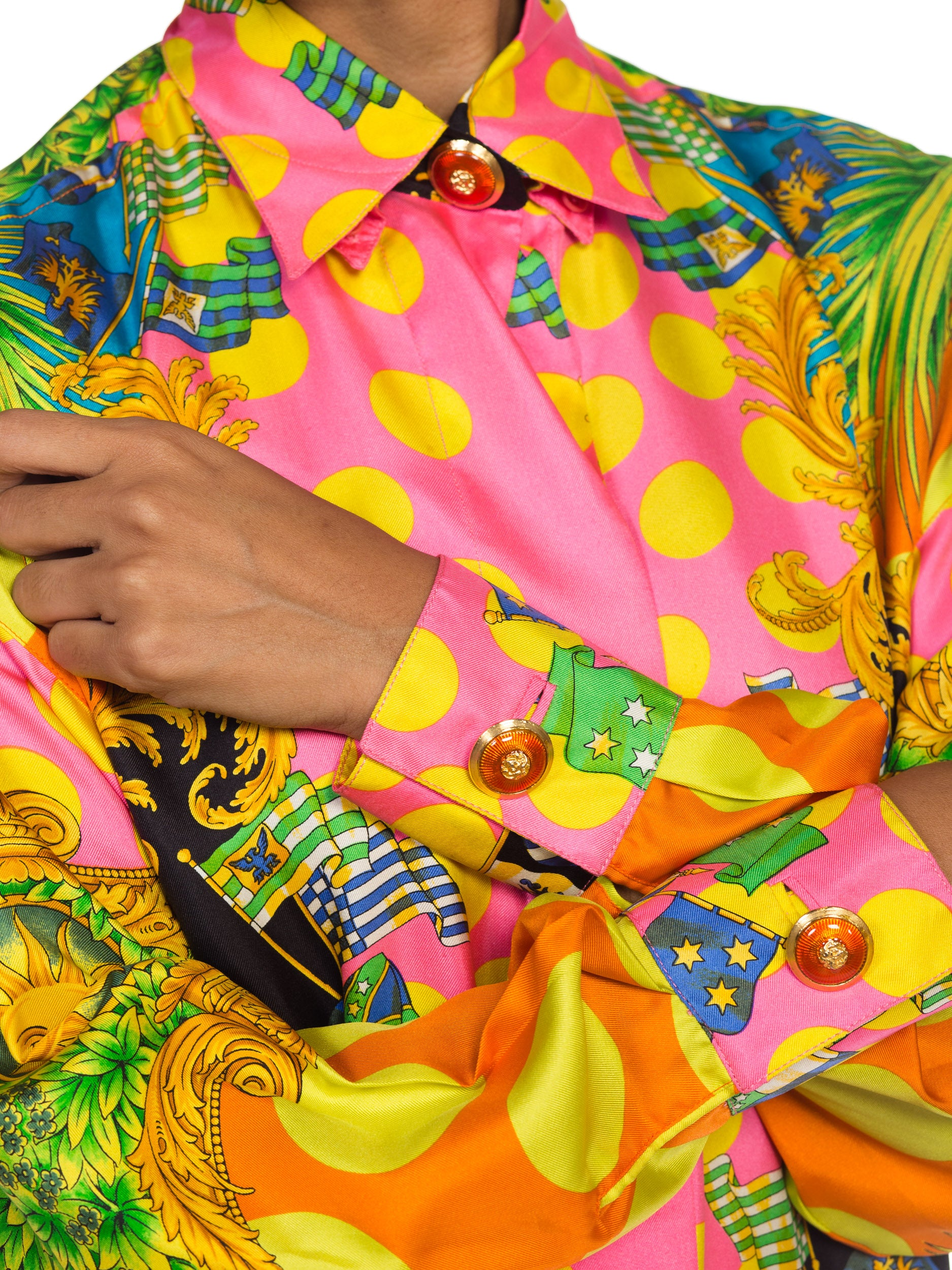 1990S  GIANNI VERSACE Miami Collection Tropical Silk Blouse Top