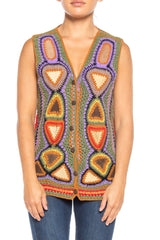 1970s Crochet And Suede Vest