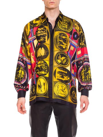 1990s Men's Istante Versace Printed Julius Caesar Silk Shirt
