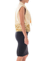1960s Beige Wool Gold Beaded Vest