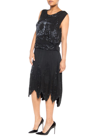 1920S Black Silk Crepe De Chine Deco Beaded Cocktail Top & Skirt Ensemble