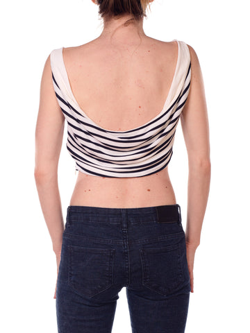1990S Blue & White Rayon Jersey Sailor Stripe Crop Top With Cowl Back