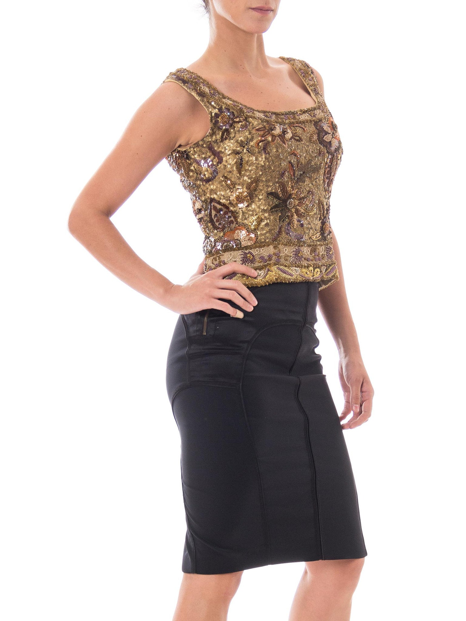 1990S Champagne Gold Silk Heavily Beaded & Embroidered Sleeveless Top