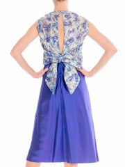1960's Blue Cocktail jacquard Dress with Silver and Gold Lurex embellishments