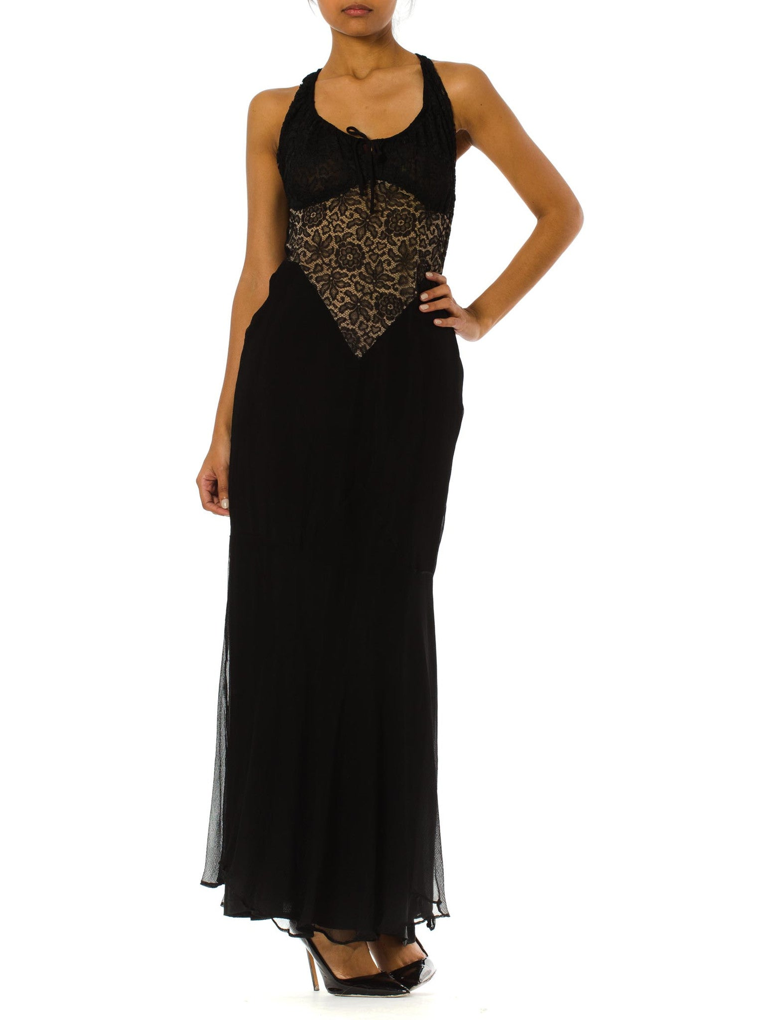 Morphew Collection Black Sheer Silk Chiffon & 1930S Lace Backless Gown