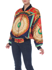 Hermes Style Feather Print Bomber Jacket