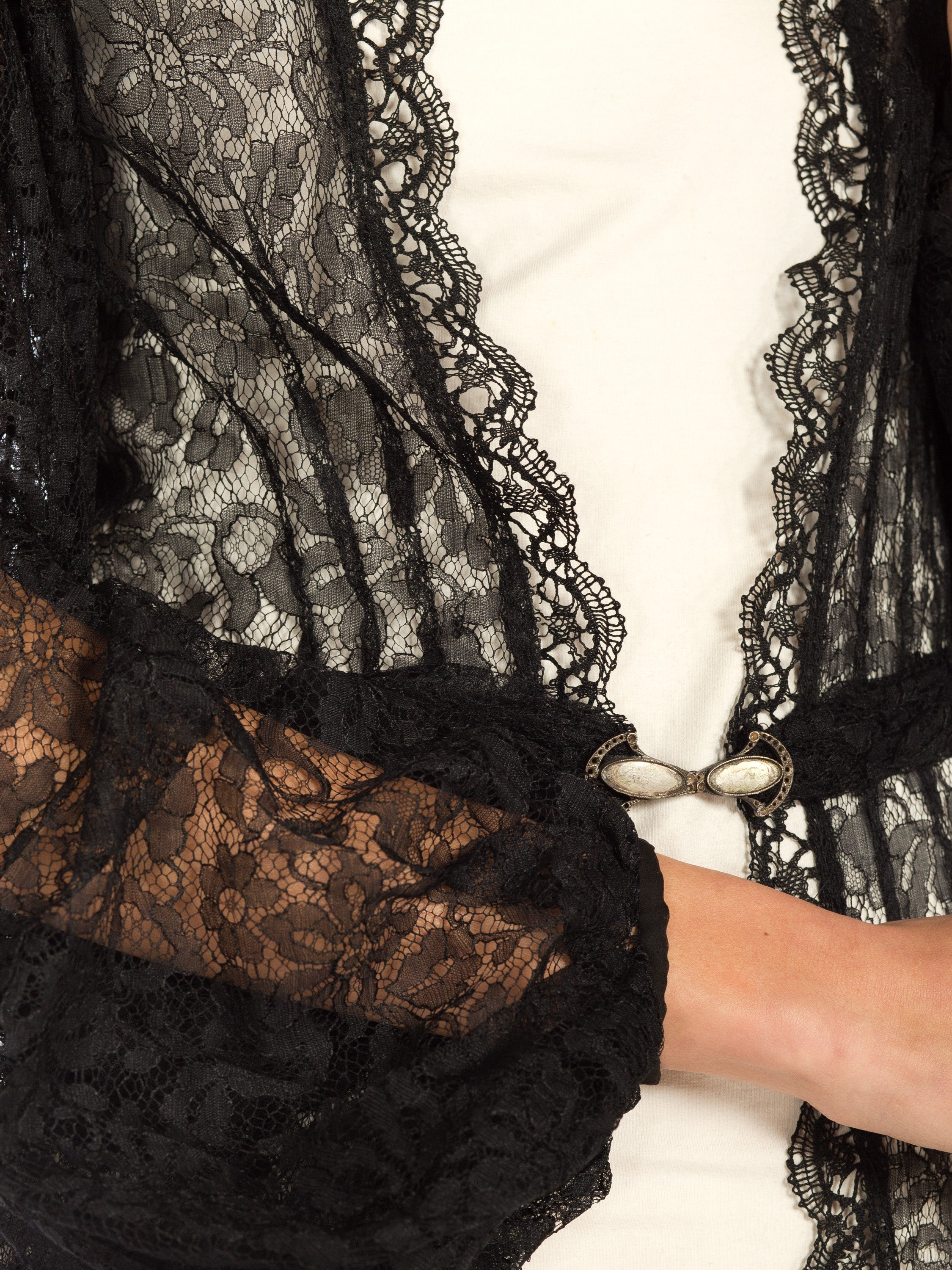 1930S Black Sheer Lace Bishop Sleeve Robe With Belt