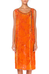 1920s Orange Floral Burnout Velvet Dress With Beading And Crystals