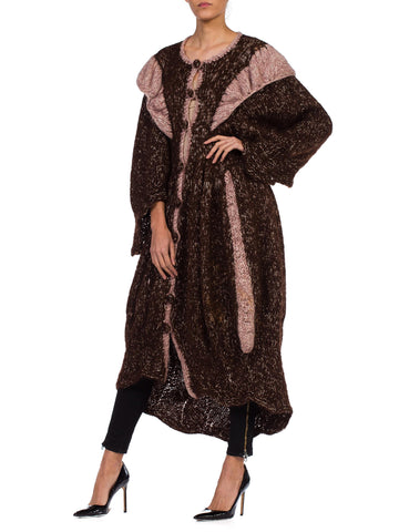 1970S Brown & Pink Wool Hand Knit Boho Maxi Sweater Coat