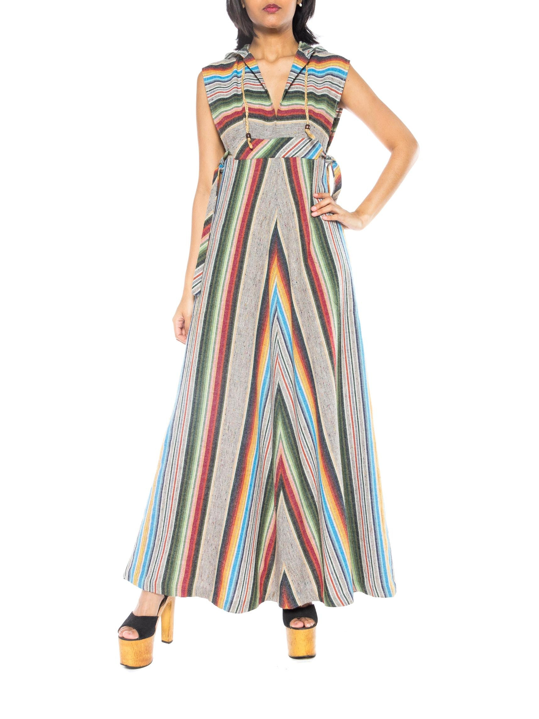1970s Striped and Hooded Dress