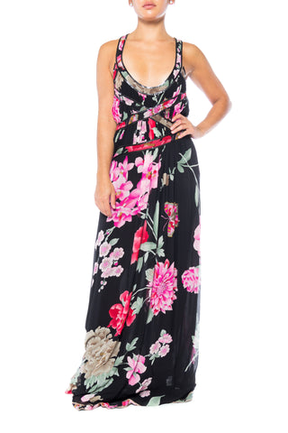 1990S LEONARD Pink & Black Silk Chiffon Tropical Floral Gown With Metal Mesh Trim