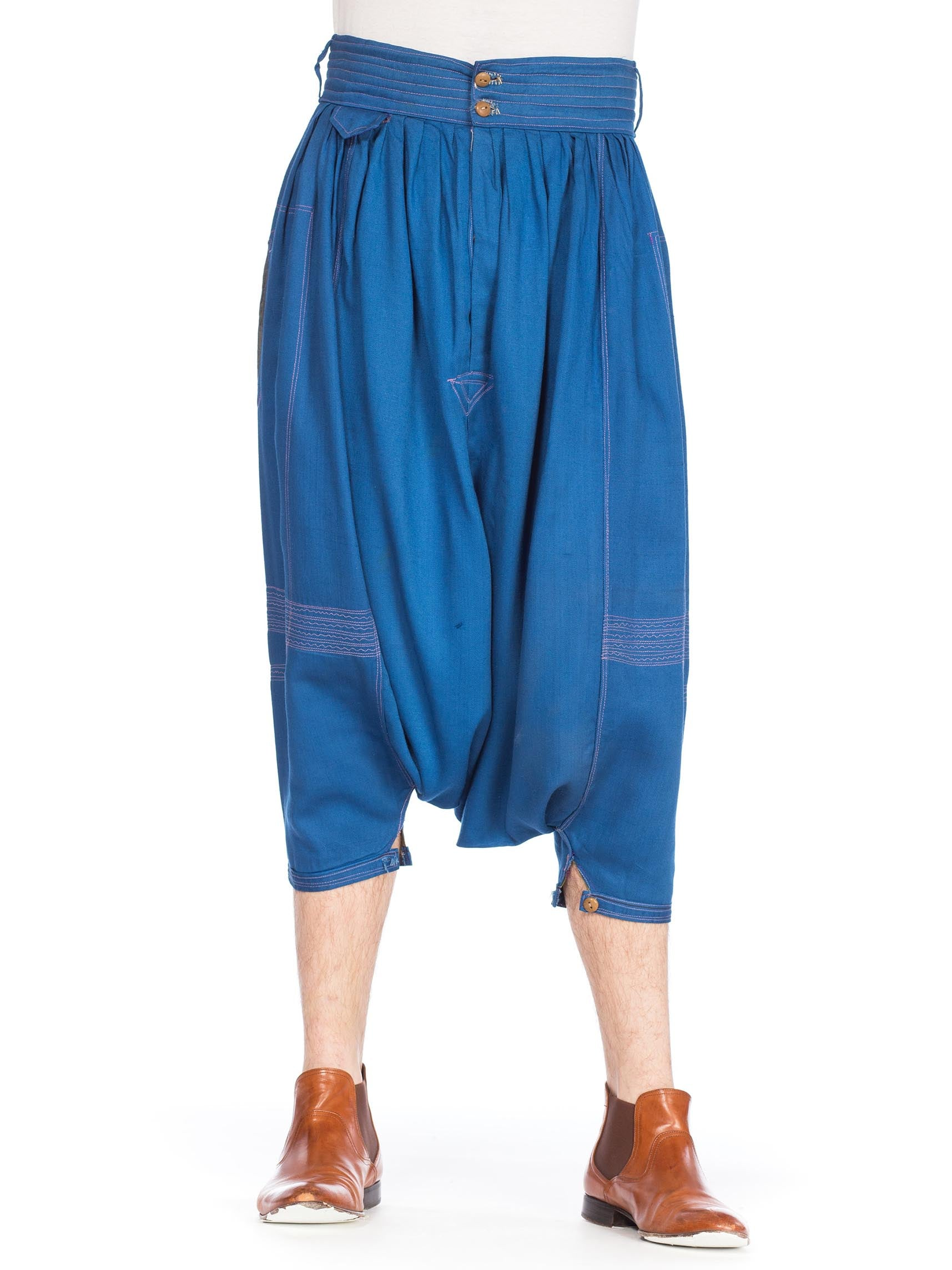 1980S Blue Cotton Middle Eastern Men'S Desert Pants