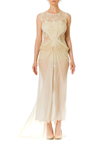 1980S Off White Beaded Silk Mousseline & Gold Metallic Embroidered Lace Gown