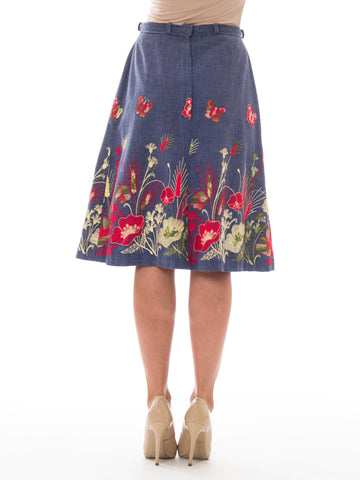 1970S Cotton Chambray Gucci-Inspired A-Line Floral Embroidered Skirt