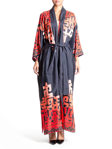 1970s Black and Red Japanese Samurai Printed Unisex Silk Kimono Robe
