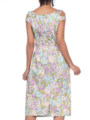 1950s Pastel Floral Cotton Sateen Dress With Crystals & Print Pearls