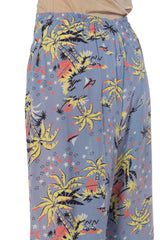1940S Rayon Light Blue Hawaiian Tropical Print Wide Leg Pants