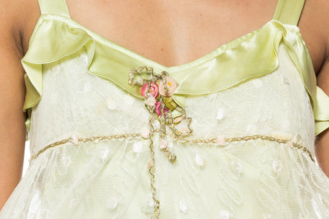 1930S Mint Green Silk & Lace Ruffled Romantic  Camisole