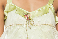 1930s Pastel Green Satin and Lace Top