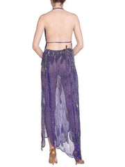 Morphew Collection Cher-Inspired 1970s Beaded Purple Two Piece Ensemble