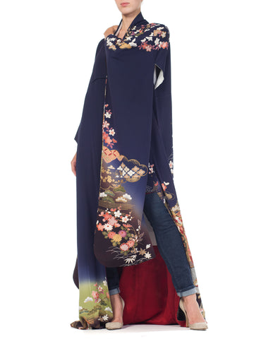 Navy Blue Japanese Kimono With Gold Flowers