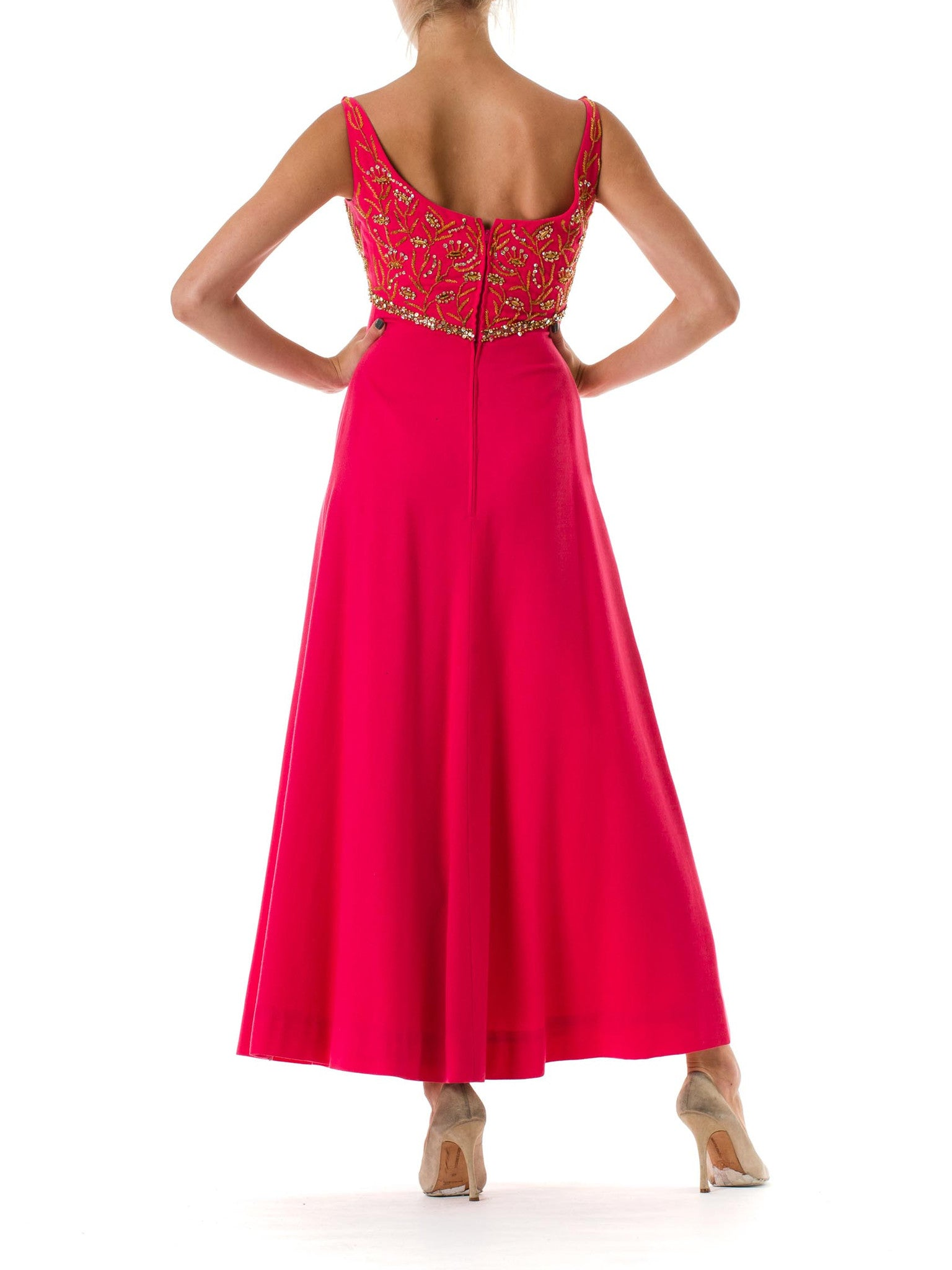 1960S MALCOLM STARR Hot Pink Wool Empire Waist Gown Beaded With Golden Crystal Flowers