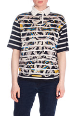 Hermes Baroque and Stripe Printed Cotton Polo Shirt