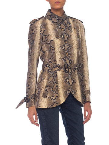1990s Deadstock John Galliano NWT Snake Snakeskin Print Light-Weight Wool Jacket