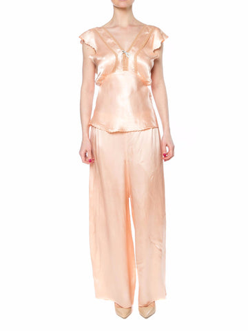 1940S Peach Rayon Satin Two Piece Pajamas Set