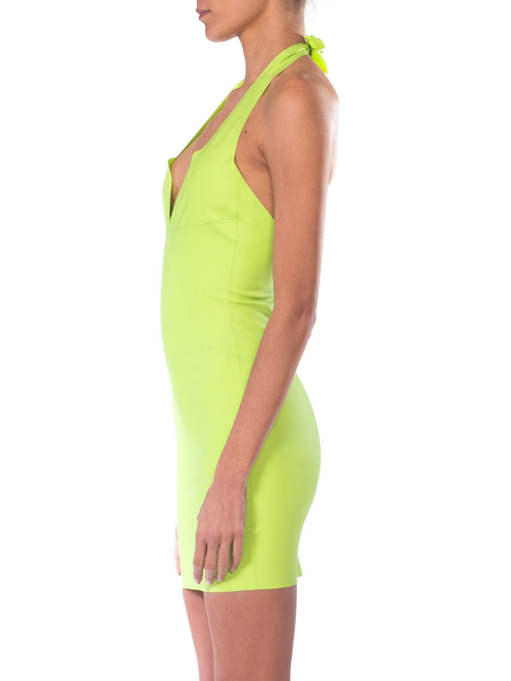 1990S Lime Green Neon  Rubber Club Kid Sexy Dress
