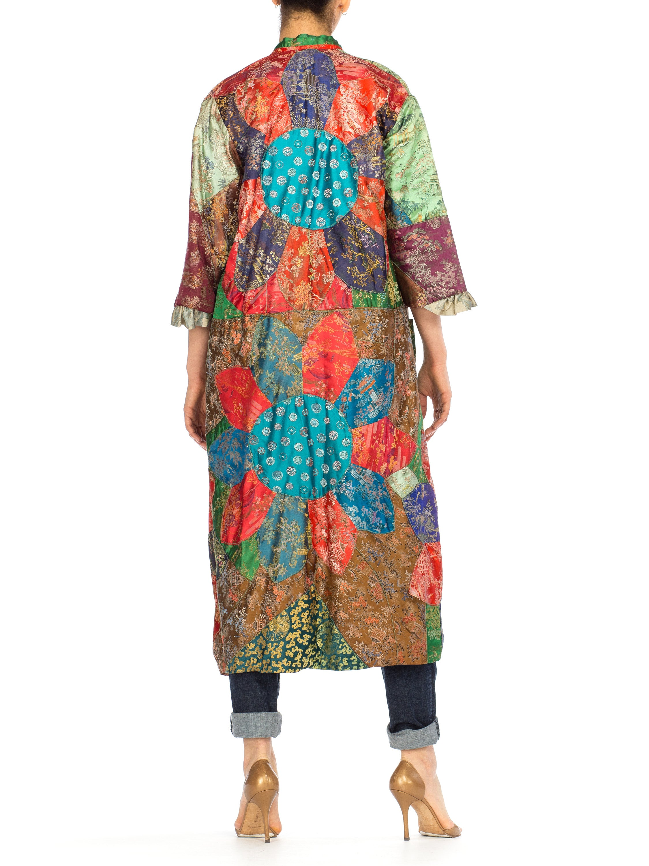 Morphew Collection Silk Brocade Antique Fabric Patchwork Duster Coat