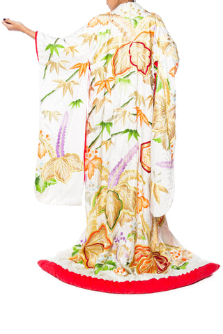 Japanese Silk Kimono Entirely Embroidered in Metallic Gold
