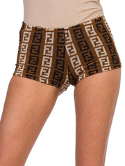 1990S Fendi Brown & Beige Cotton Blend Terry Cloth Logo Shorts