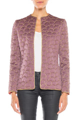 1970s Mauve Silk Jacket with Gold Metallic Quilting