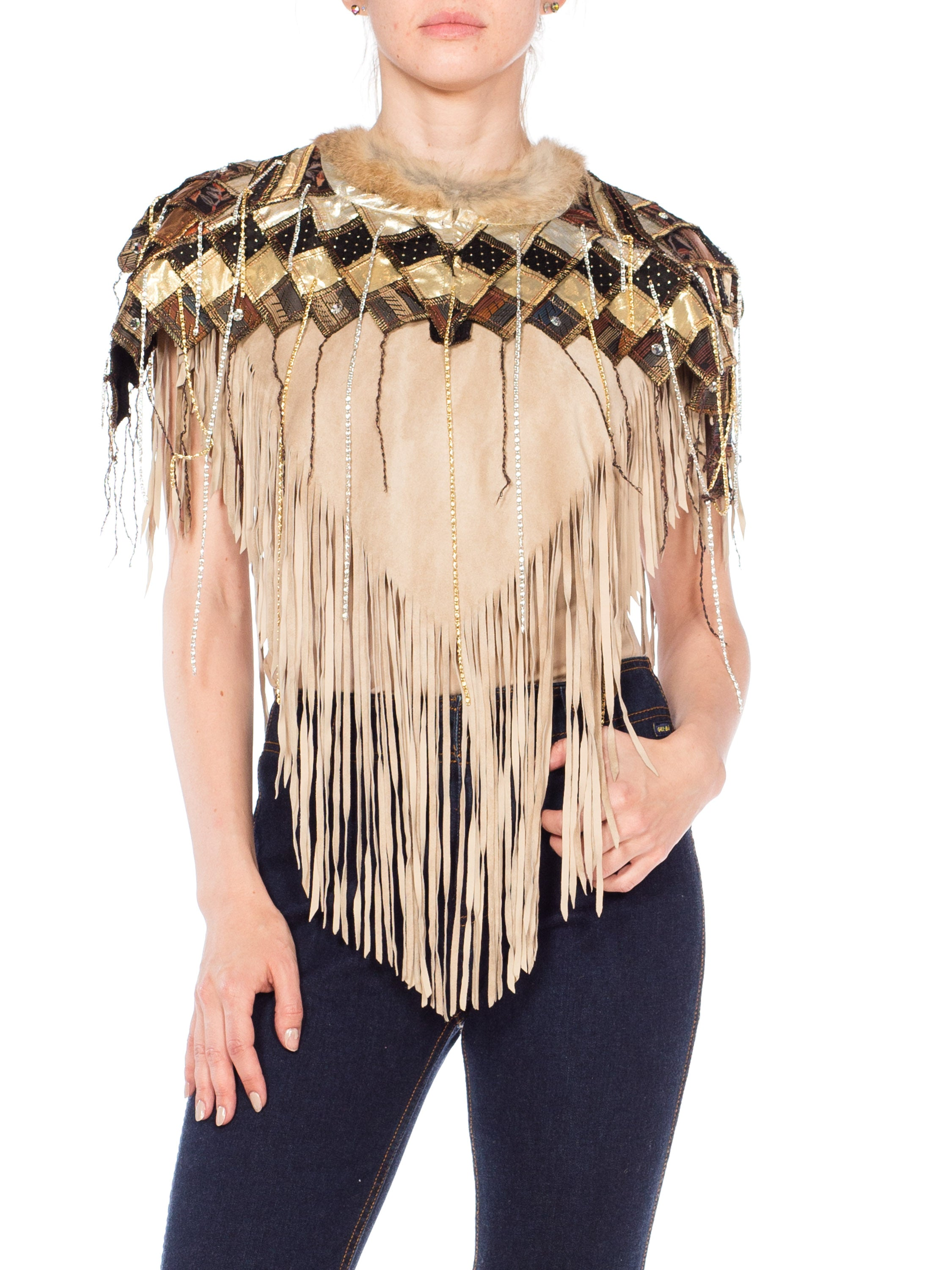1980 Suede Fringe Capelet With Fur Trim Cape