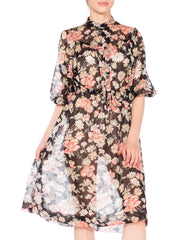 1970s Black Floral Chiffon Peasant Sleeve Dress