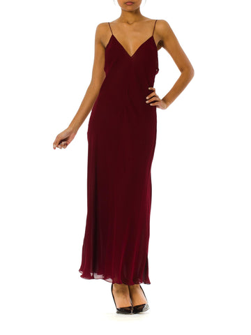 1990s DKNY Silk Bias Cut Burgundy Slip Gown