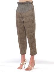 1980s Italian Paperbag Waist Cotton & Wool Pants