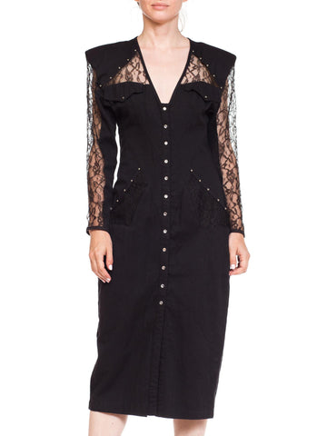 1990s Karen Okada Black Dress with Lace Detalis