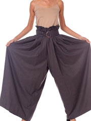 Houghton New York Grey Cashmere Wide Leg Pants With Pleat Details