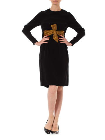 1960s Black Long Sleeve Bow Waist Shift Dress